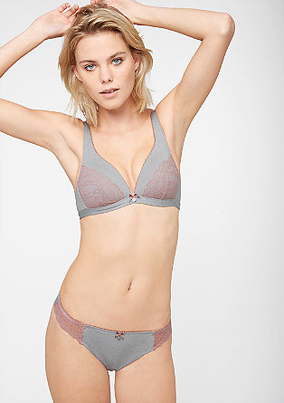 Triangle jersey bra with lace from s.Oliver