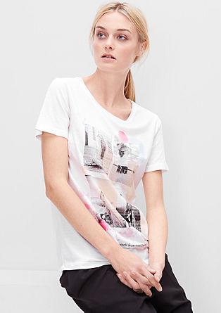 Tričko s nápisem a fotografickým potiskem