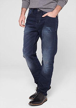 Tube straight: jeans met slijtageplekken