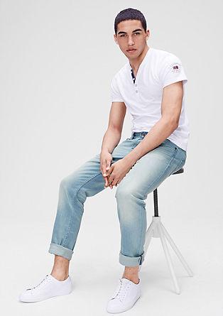 Tubx Straight: Helle Used-Jeans