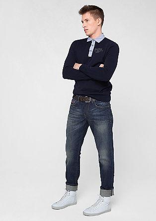 Tubx Straight: Stretch-Jeans mit Gürtel