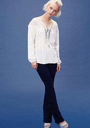 Tunic blouse with lace yoke from s.Oliver