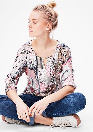 Tunika-Bluse mit floralem Muster