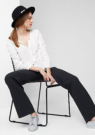 Tunika-Bluse mit tonigem Webmuster