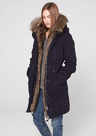 Twill-Parka mit Fake Fur