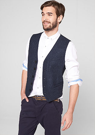 Twill waistcoat in blended wool from s.Oliver