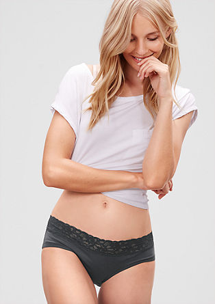 Two pairs of jersey briefs with lace from s.Oliver