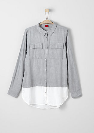 Two-Tone-Bluse im Layer-Look