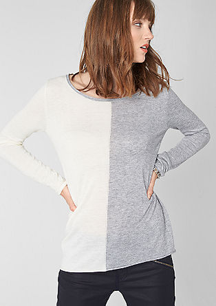 Two-tone knit jumper with a curled hem from s.Oliver