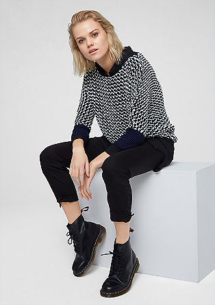 Two-tone mesh knit jumper from s.Oliver