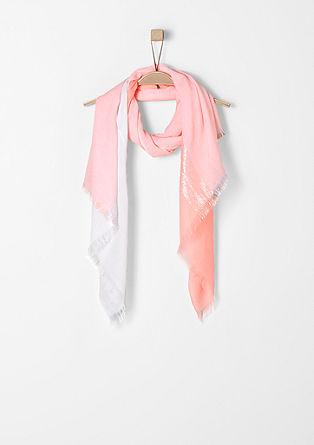 Two-tone sjaal met glitterstrepen
