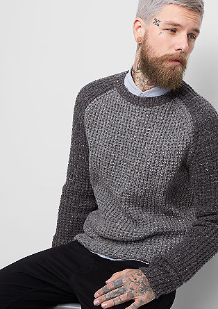 Two-tone waffle knit jumper from s.Oliver