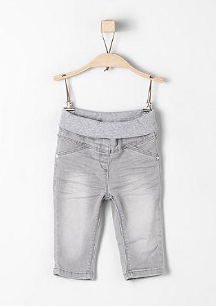 Udobne jeans hlače z rebrastim robom