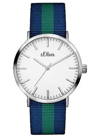 Uhr mit gestreiftem Textilband