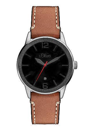 Uhr mit matt schwarzem Ziffernblatt