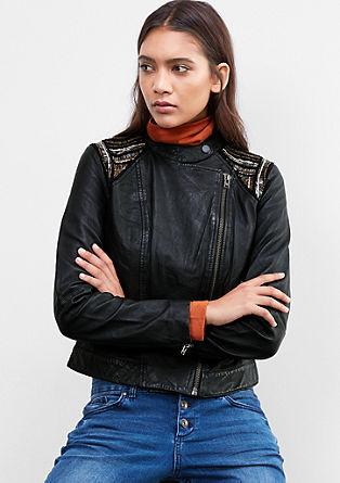 Usnjena jakna z okrasnimi biseri