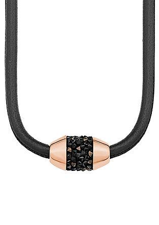 Usnjena ogrlica z obeskom s kristali Swarovski