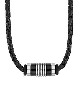 Usnjena ogrlica z okrasnim elementom iz legiranega jekla