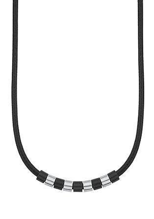 Usnjena ogrlica z okrasnimi elementi iz legiranega jekla