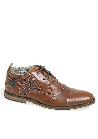 Usnjeni čevlji z vezalkami v kombinaciji struktur