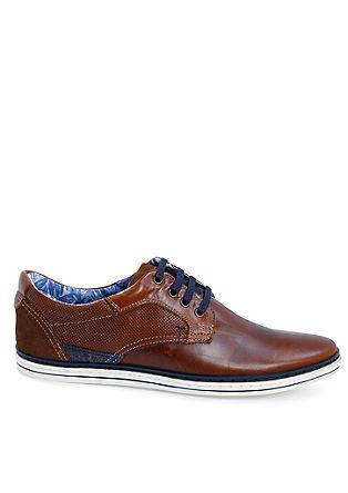 Usnjeni čevlji z vezalkami z detajli iz tekstila