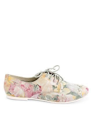 Usnjeni nizki čevlji s cvetličnim vzorcem