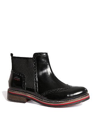 Usnjeni nizki škornji v dizajnu brogue