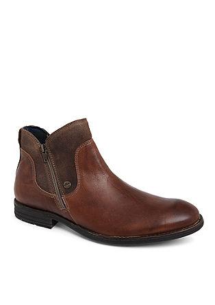 Usnjeni nizki škornji v vintage dizajnu