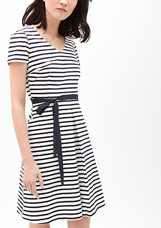 V-neck dress with a tie-around belt from s.Oliver