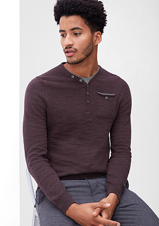 V-neck jumper with a button placket from s.Oliver