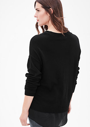 V-neck jumper with crepe mock layer from s.Oliver