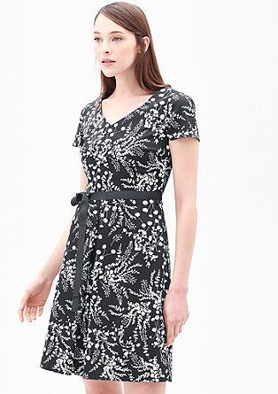 V-Neck-Kleid mit Bindegürtel