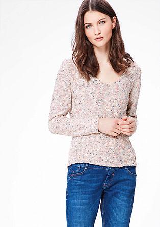 V-Neck-Pullover aus Strukturgarn