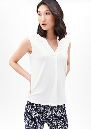 V-Neck-Shirt aus Crêpe