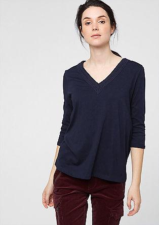 V-Neck-Shirt mit Spitze