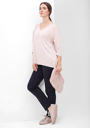 V-neck top with decorative trim from s.Oliver