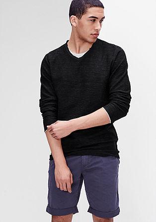 Večplasten pulover iz strukturiranega džersija