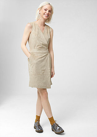 Velour dress with a wrap-over skirt from s.Oliver