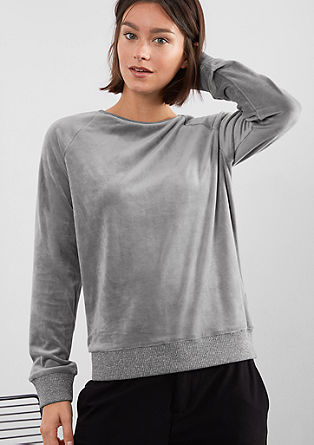 Velour sweatshirt with glitter from s.Oliver