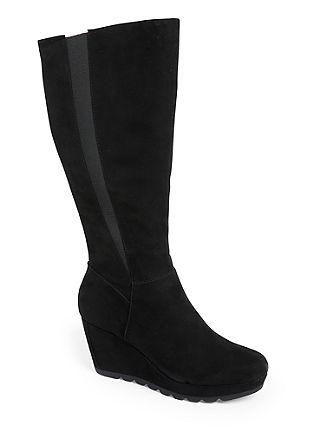 Velours-Stiefel mit Keilabsatz