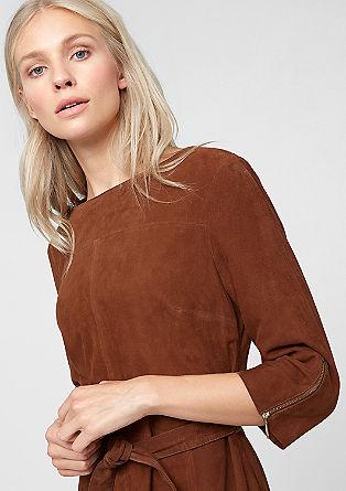 Velourskleid mit Zippern
