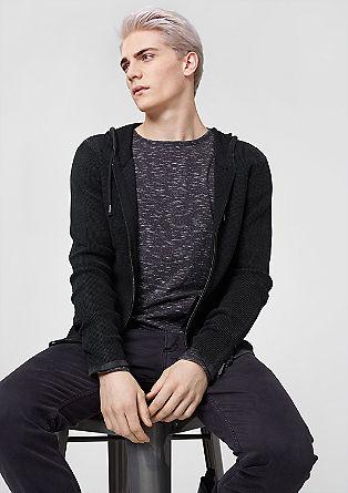 Vest met capuchon, gebreid met wafelpatroon