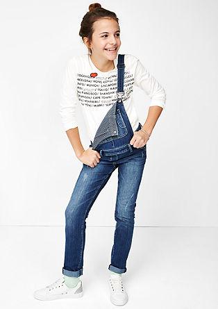 Vezena majica z dolgimi rokav s potiskom
