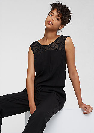 Viscose jumpsuit with a chiffon insert from s.Oliver