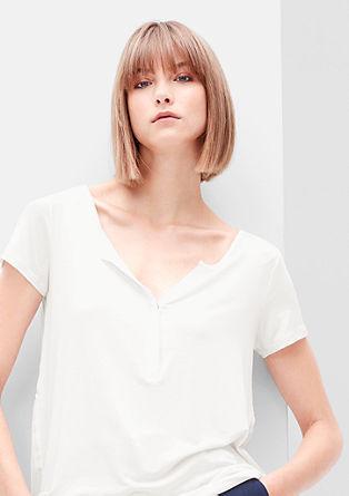 Viscose shirt met Y-hals