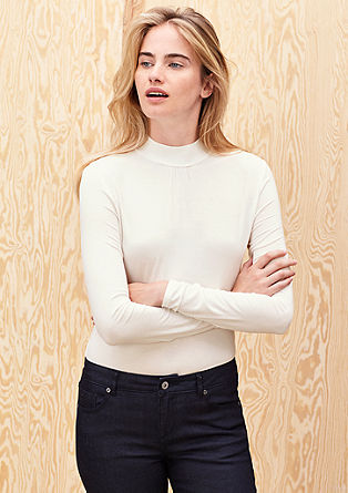 Viscose top with a stand-up collar from s.Oliver