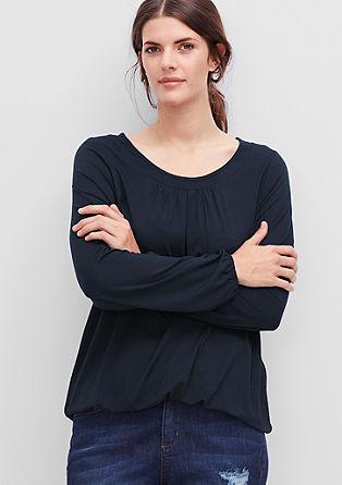 Viskose-Shirt mit Ausschnitt-Blende