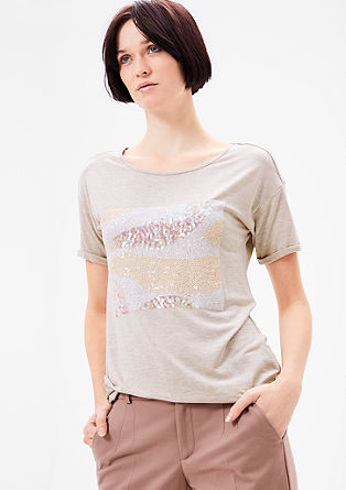 Viskose-Shirt mit Pailletten