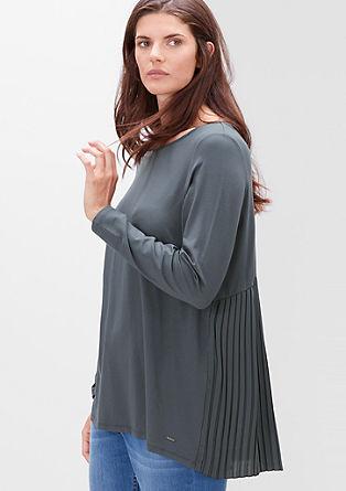 Viskose-Shirt mit Plissée-Rücken