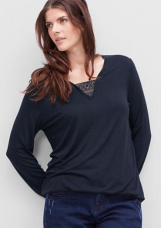 Viskose-Shirt mit Spitzen-Detail